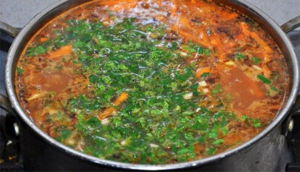 Готовый суп харчо с картошкой