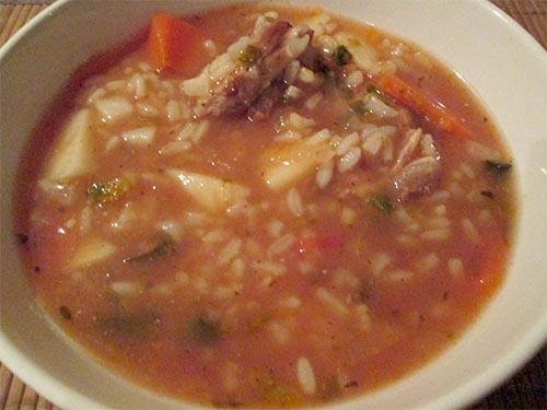 Суп харчо с копчеными ребрышками