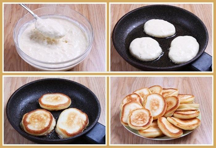 Пошаговый рецепт пышных оладьев на кефире с