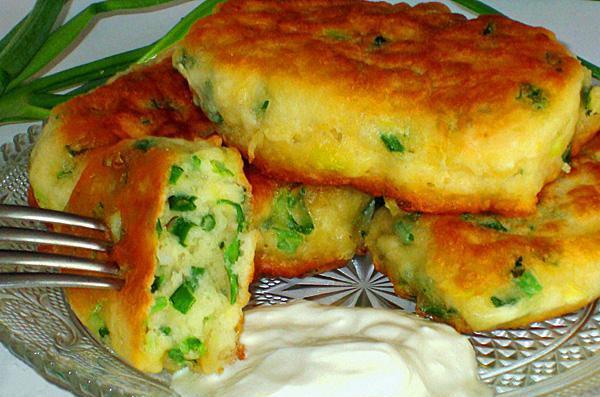Оладьи на кефире пышные с зеленым луком рецепт
